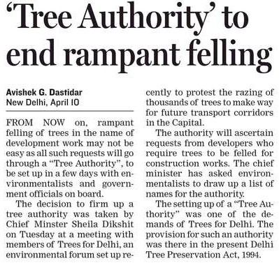The trees for Delhi effect newscutting from Hindustan Times.com