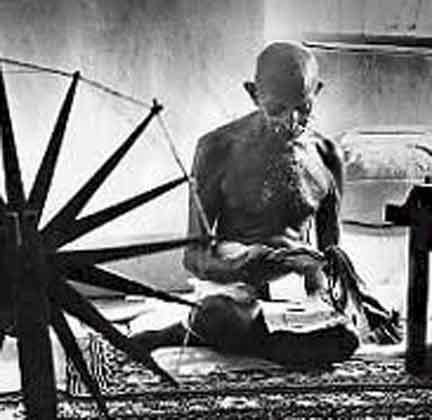 gandhi and his spinningwheel