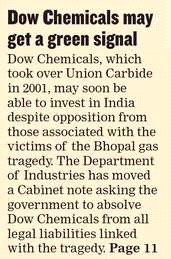 Dow Chemicals may get green signal HT