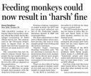 Feeding monkeys could now result in harsh fineHT